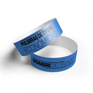 500 pulseras tyvek azul neon impresas 4