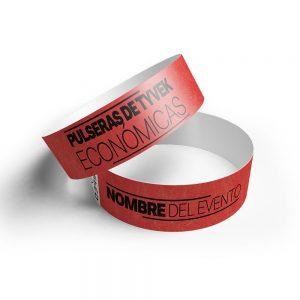 500 pulseras tyvek rojo impresas 10