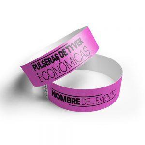 500 pulseras tyvek rosa neon impresas 12